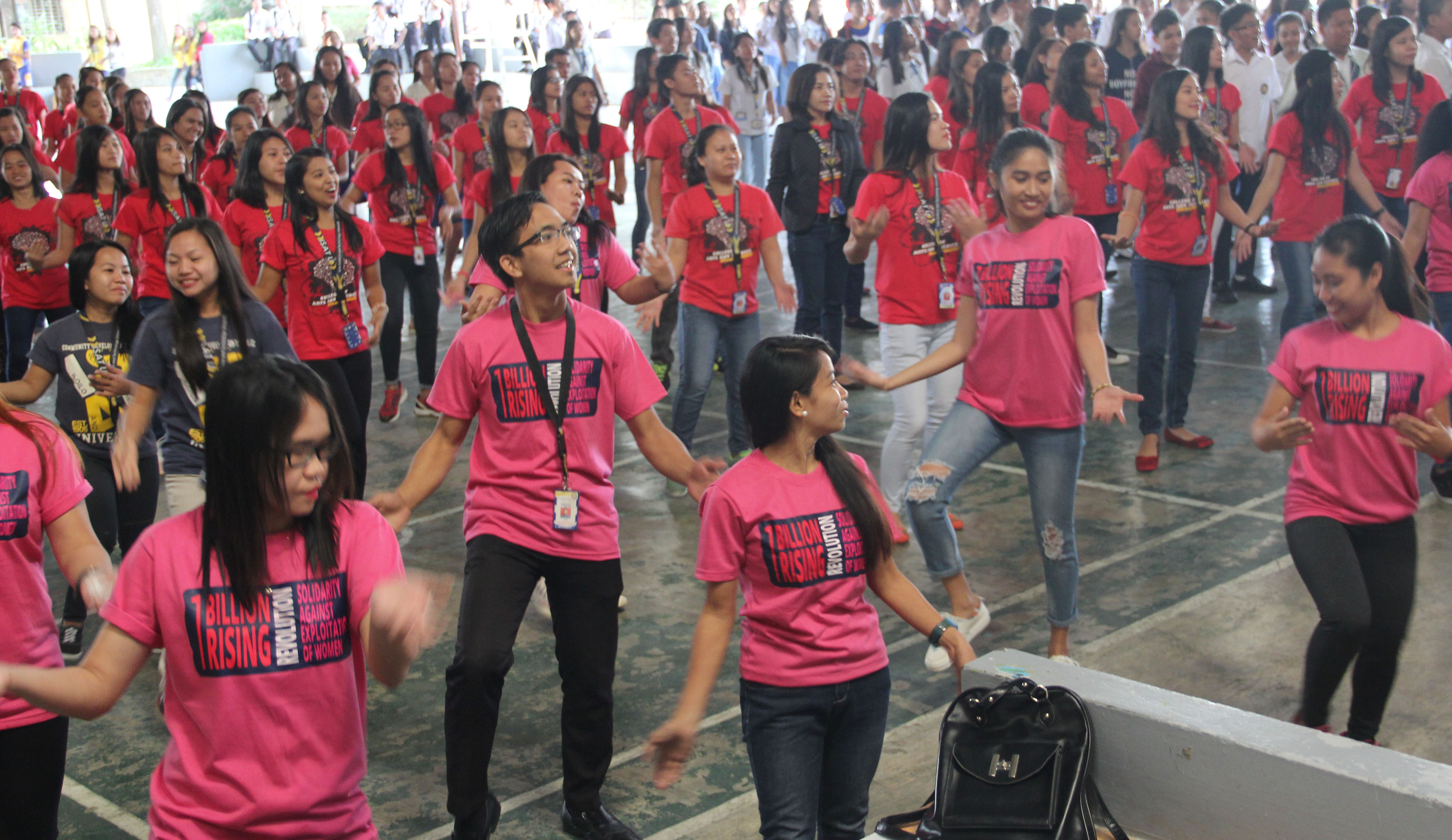 """Dancing to the tune of """"Isang Bilyon"""", the students join in 1 Billion Rising Revolution solidarity against exploitation of women."""
