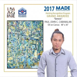 Cabanalan with his painting Genesis taken during the Awarding Ceremony and Exhibit Opening at the Le Pavilion, Pasay city last September 21, 2017.