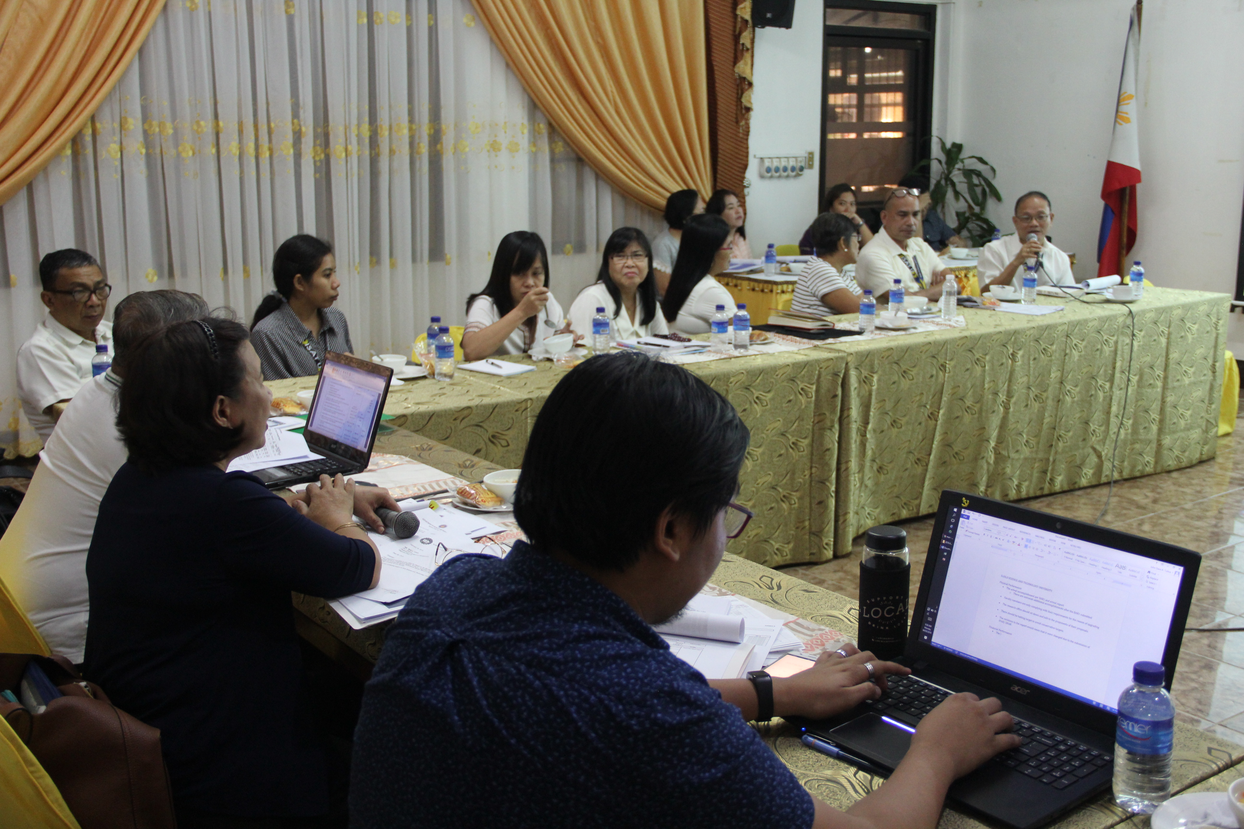 ISAT U key officials present the University budget performance before the members of the Department of Budget and Management at the New Board Room on March 4, 2019.