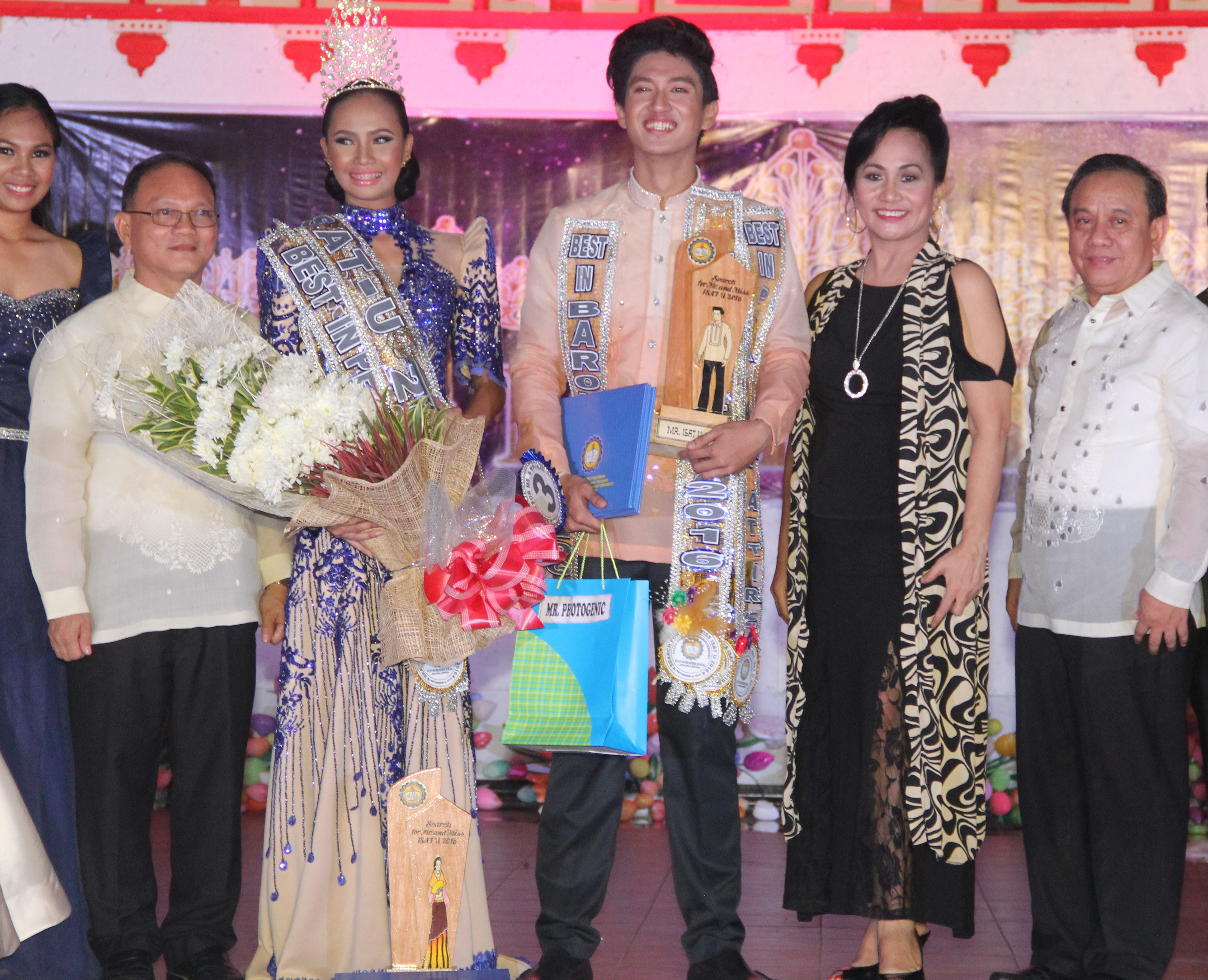 From, left, Dr. Raul F. Muyong , Miss ISAT U 2016 Lynie Rose Rodriquez, Mr. ISAT U 2016 Don Dave Dedios, Dr. Nehema K. Misola, Dr. Manuel A Sanchez, Jr. pose before the camera after the awarding ceremony.