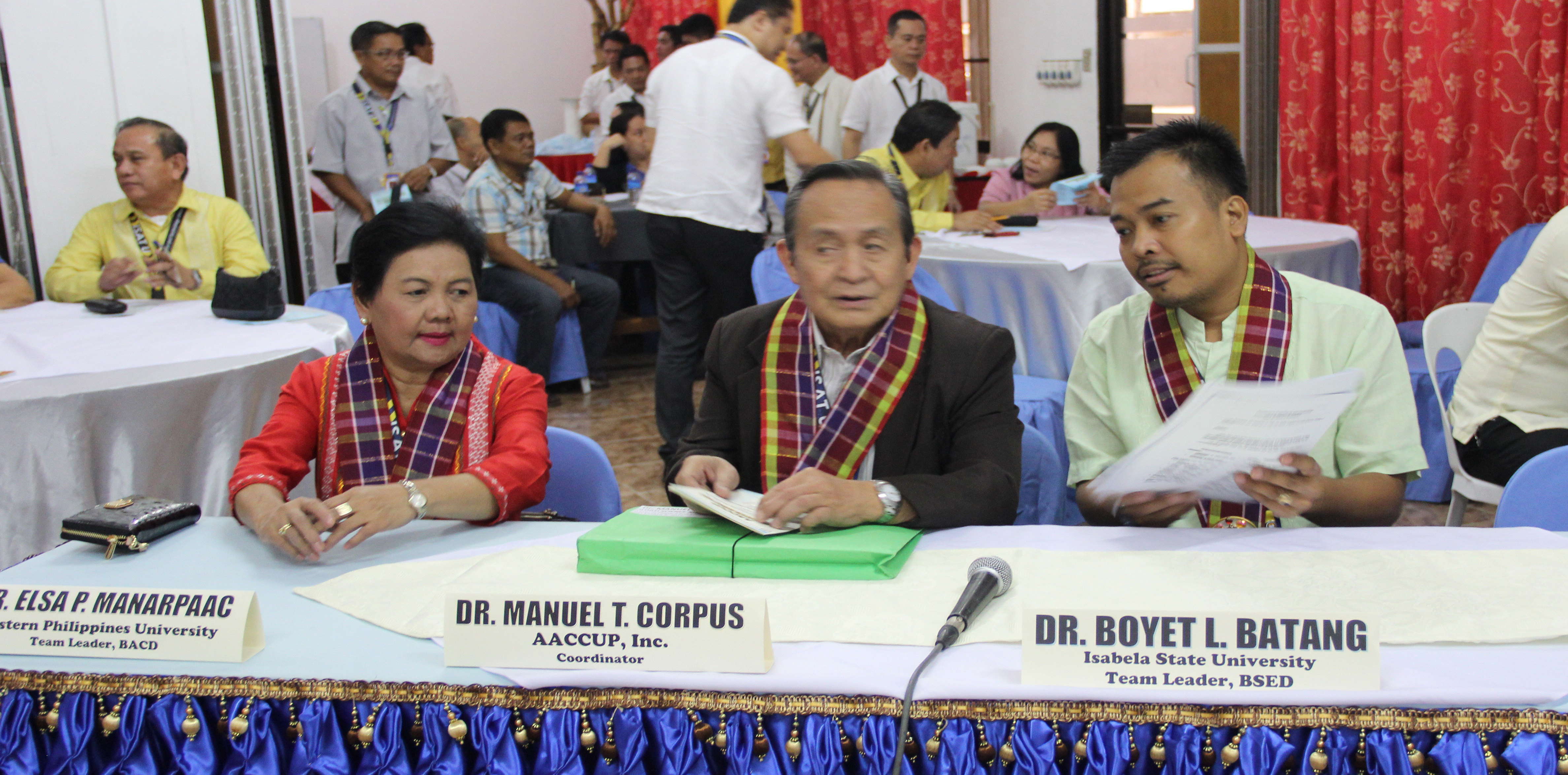The team of accreditors for the survey visit. WPU President Dr. Elsa P. Manaarpaac, AACCUP, Inc. Executive Director D. Manuel T. Corpus and Dr. Boyet L. Batang of Isabela State University.