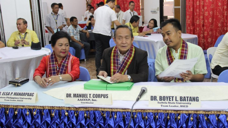 The team of accreditors for the survey visit.  WPU president Dr. Elsa P. Manaarpaac, AACCUP executive Director, D. manuel t. Corpus and Dr. Boyet L. Batang of Isabela State university