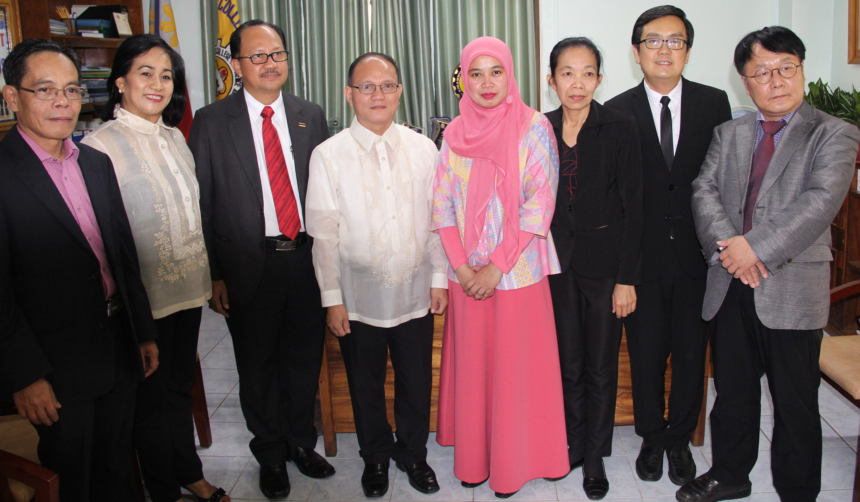The delegates from the six-member nations of Asia-Pacific Network Sector of Technical Vocational Education and Training (TVET) during a courtesy visit at the Office of the University President. From left, Dr. Manuel de la rosa of UNEVOC Philippines manila Center. ISAT U VPAF Dr. Nehema K. Misola, Asso. Prof. Razzal Hassan of Malaysia, ISAT U Pres. Dr. Raul F. Muyong, Anita Widiawati of UNEVOC Indonesia, Deputy Director Nivone Moungkhounsavath of Laos, Mr. Panyachart Wongpanya , OVEC Thailand and Dr. Hwang Gyu-Hee of the Korean Research Institute for Vocational Education and Training (KTIVET) Center for Global Cooperation.