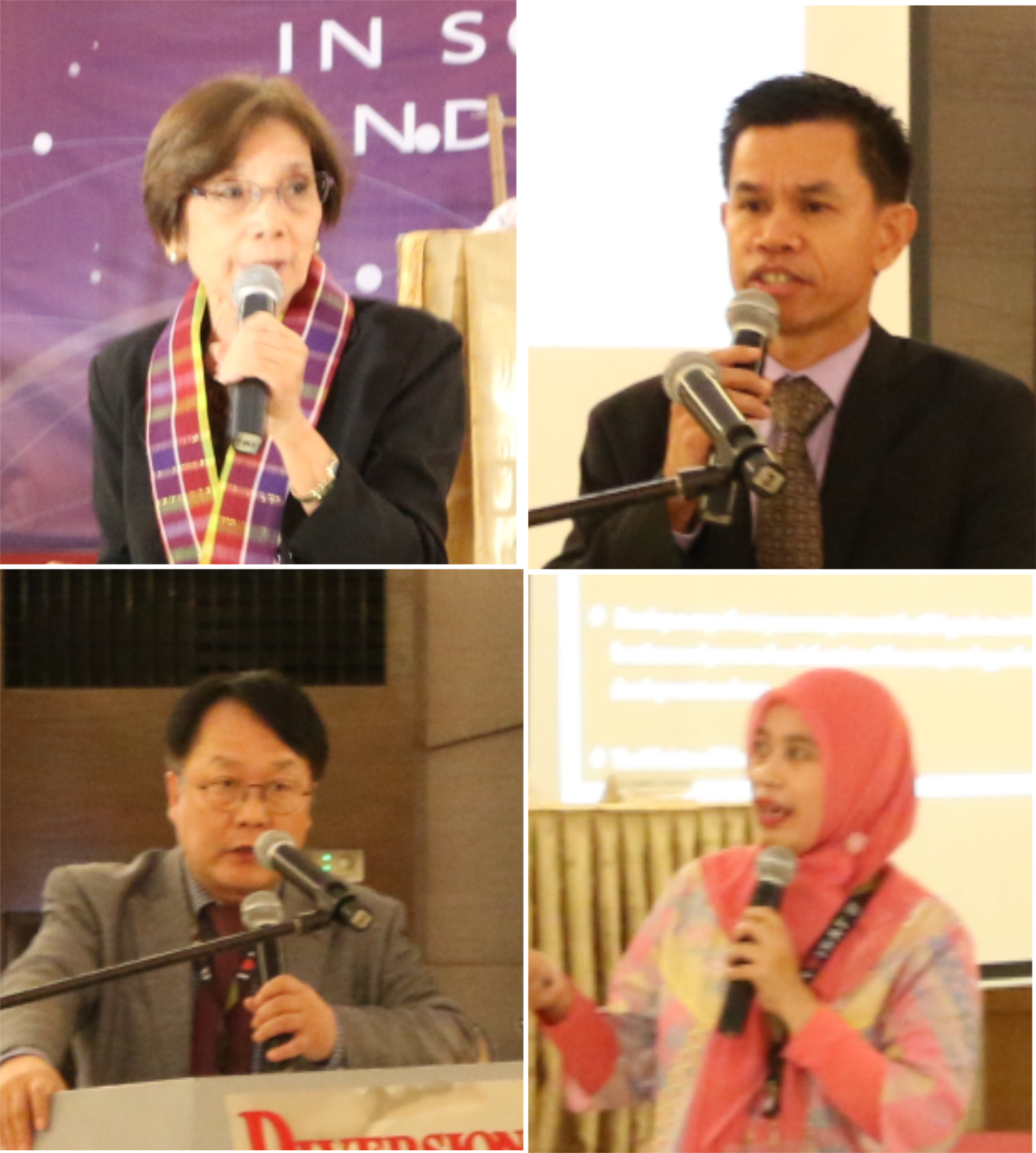 The plenary speakers. clockwise: Dr. Alumanda M. De La Rosa, Dr. Leonardo S. Sotaridona, Anita Widiawati and Dr. Hwang Gyu-Hee