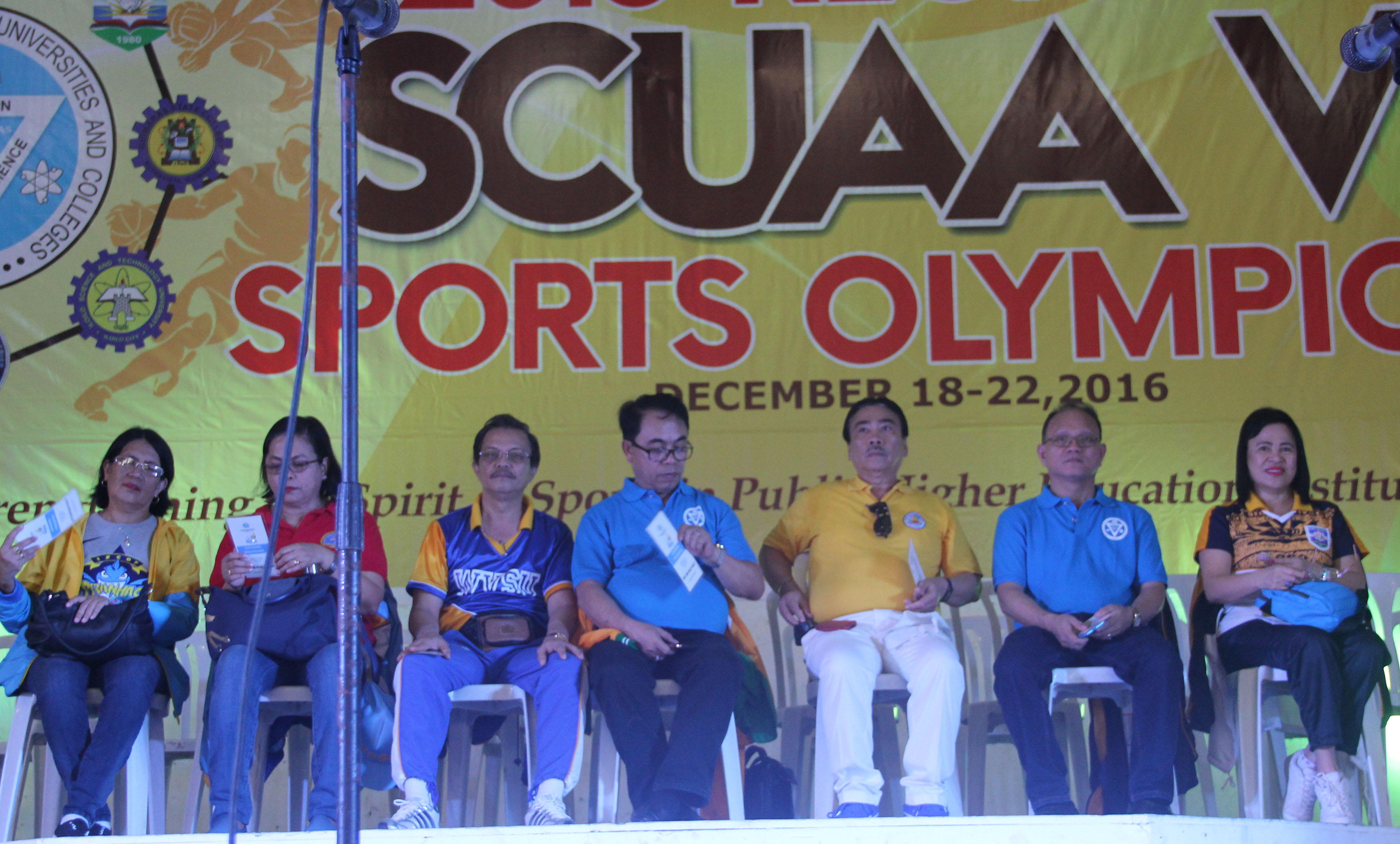 The Philippine Association of State Universities and Colleges (PASUC) VI presidents at the opening program of SCUAA 2016. From left, Dr. Theresa Palmares-Nothern iloilo Polytechnic State College, Dr. Percy Perez, tate College of Fisherires, Dr. Luis T. Sorolla- West Visayas State University, Dr. Danilo E. Abayon, Aklan State University, Dr. Victor E. Navarra, University of Antique, Dr. Raul F. Muyong, Iloilo Science and Technology University, Dr. Editha C. Alfon-Capiz State university.