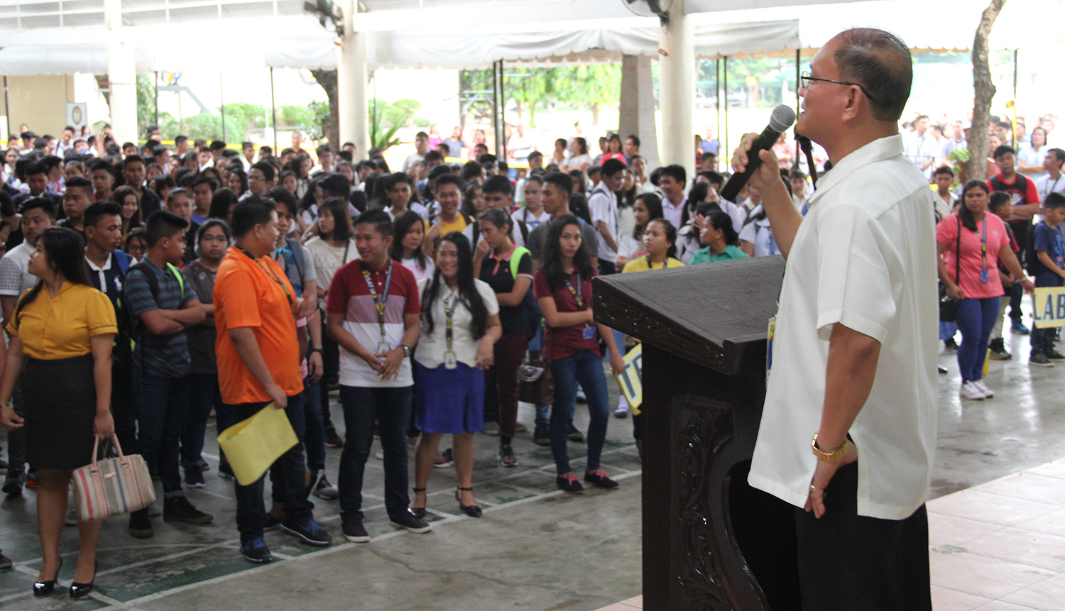 Dr. Raul F. Muyong welcomes the students, faculty, staff and parents on the first day of classes for Academic Year 2017-2018 on june 7, 2017