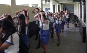 The students observe proper procedure in going to the designated evacuation center.
