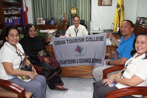 Samira Albalushi, Oman Tourism College representative visits the office of Dr. Raul F. Muyong. Also in picture are Dr, Nehema K. Misola, VPEA, Dr. Jeanneth Darroca, HRT Main Campus Head and a faculty member from ISAT U Dumanagas Campus.