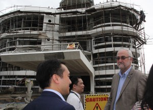 Dr. Carmelo V. Ambut, VPRE, tours RTI delegates to the on-going construction of the 60 million research Hub.