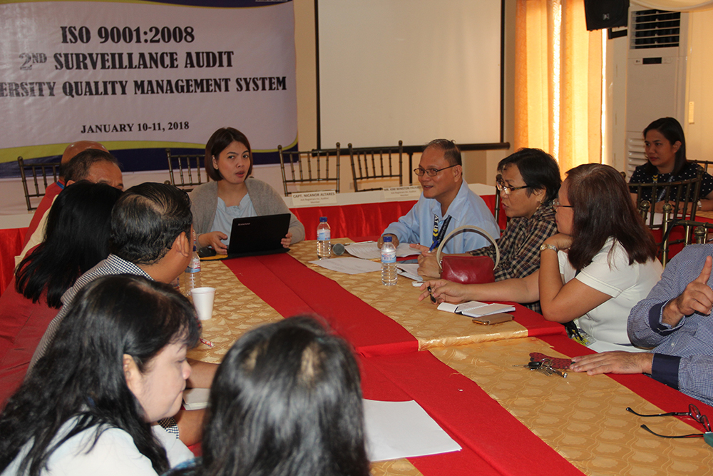 NO MAJOR AND NO MINOR NON- CONFORMITY.  Dr. Raul F. Muyong  and the university key officials answer questions from  Ms. Ella Riza Ajero, audit team leader during the AJA Registrars Inc. ISO 9001:2008 2nd Surveillance Audit  of ISAT U Iloilo City, Miagao and Leon Campus Quality Management System on Jan. 10-11, 2018.  Other AJA auditors were Ms. Ma. Lourdes Mercolita, Capt. Nicanor Altares and Mr. Kim Winston Pajares.   The audit team announced that a recommendation for continuous certification of IS0 9001:2008 compliance will be issued to ISAT U since there were no major and no minor  non-conformities found. Dr. Muyong gave the assurance that the 17 observations of the audit team will be addressed immediately.
